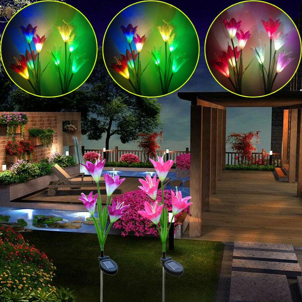 2 Pack Power Lily Flower LED Garden Yard Outdoor