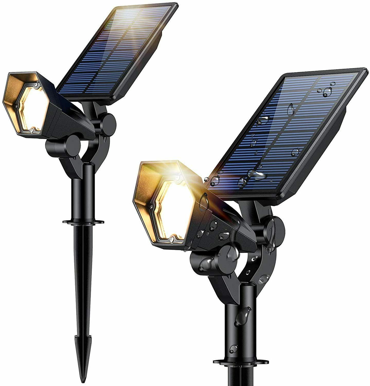 2pk solar spot lights outdoor adjustable waterproof