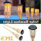 2x solar bamboo tiki torch light lamp