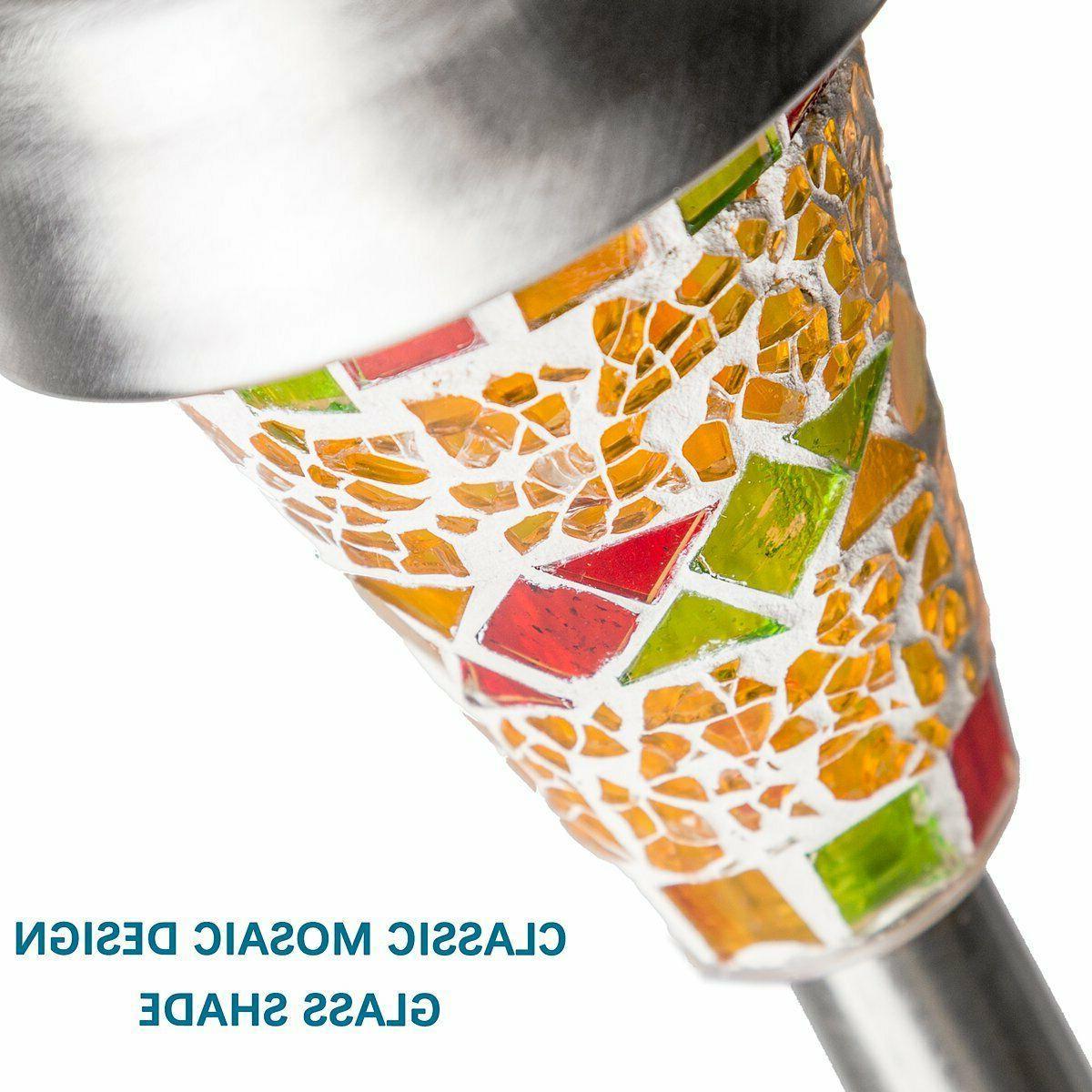 GIGALUMI 3 Pack LED Solar Lights Color Mosaic Steel
