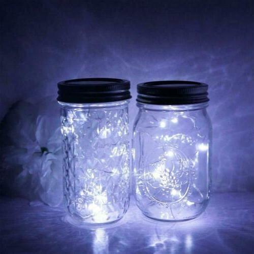 3-Pack Jar 20 String Lids Decor White