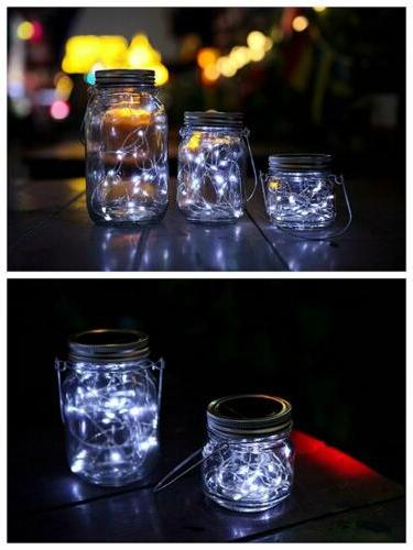 3-Pack Jar Lights 20 String Insert Decor White