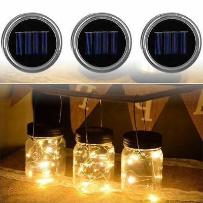 3-Pack Solar Powered Mason Jar Lid 10 LED Fairy String Light
