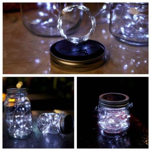 3-Pack Jar 20 LED Fairy String Lids Insert Decor White