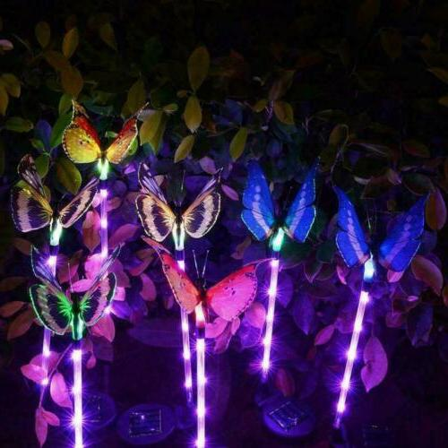 3PCS Solar Garden Stake Butterfly Light Outdoor Landscape La
