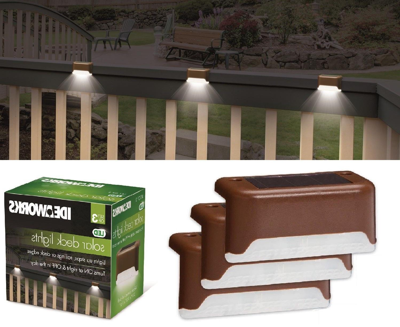 3 solar led bright deck lights outdoor