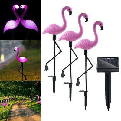 3pc set led lamp solar power pink
