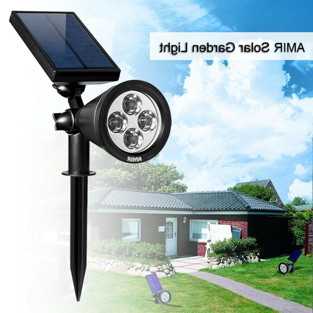 4 led outdoor solar spotlights waterproof security