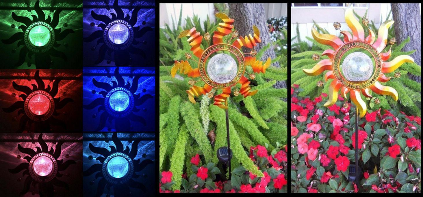 4 Outdoor Solar Metal Art Glass Crackle Ball Color Changing