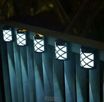 GIGALUMI 4 Pack Solar Fence Lights 6 LEDs Per Light Waterpro