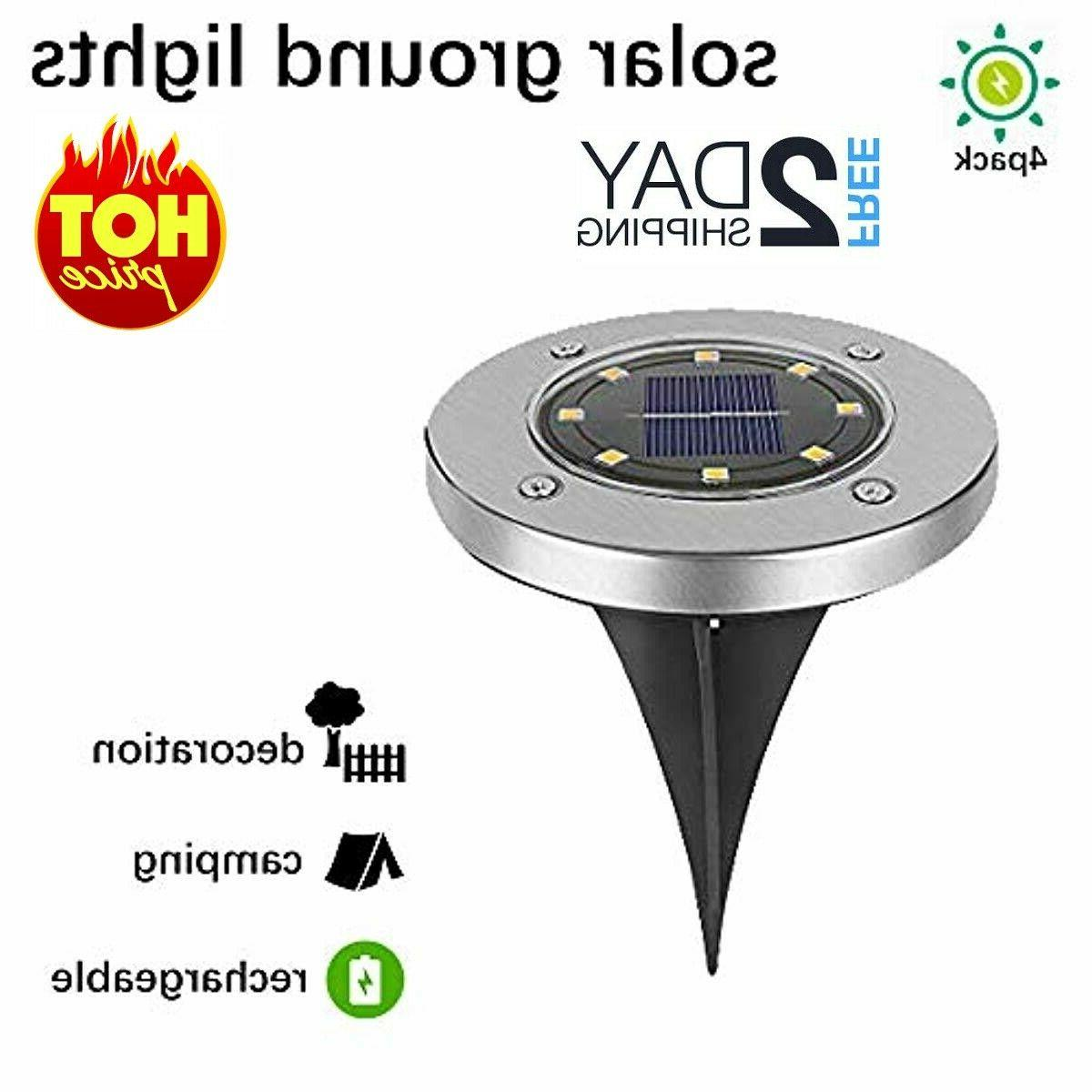 4 pack solar garden ground lights outdoor