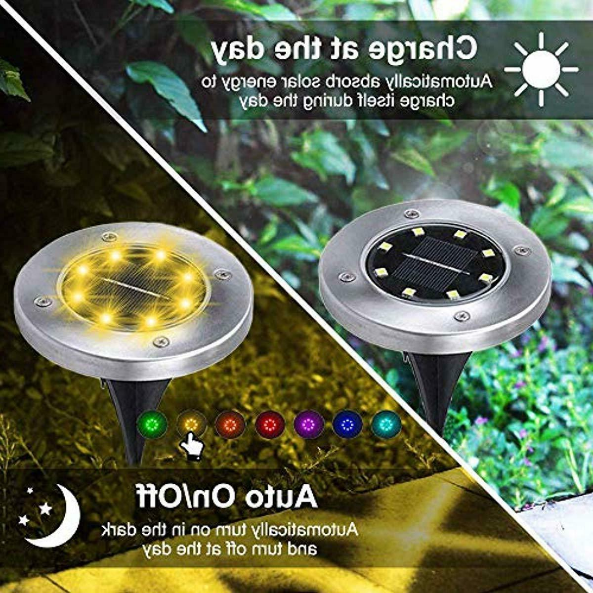 4 Pack Solar LED Garden in-Ground Changing