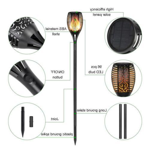 4 Light Flame Solar Torch Outdoor Dawn