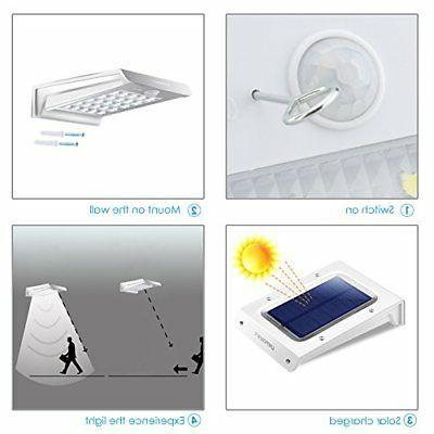 4 Pcs Waterproof LED Solar Motion Sensor Wall Light Garden Lamp