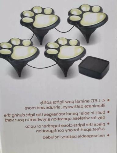 "4 Solar Paw Statue LED Path 3"""