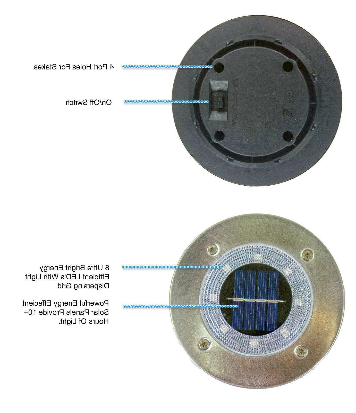 4 Solar Powered LED Disc Path Lights Diffusure Lens Waterproof Disk