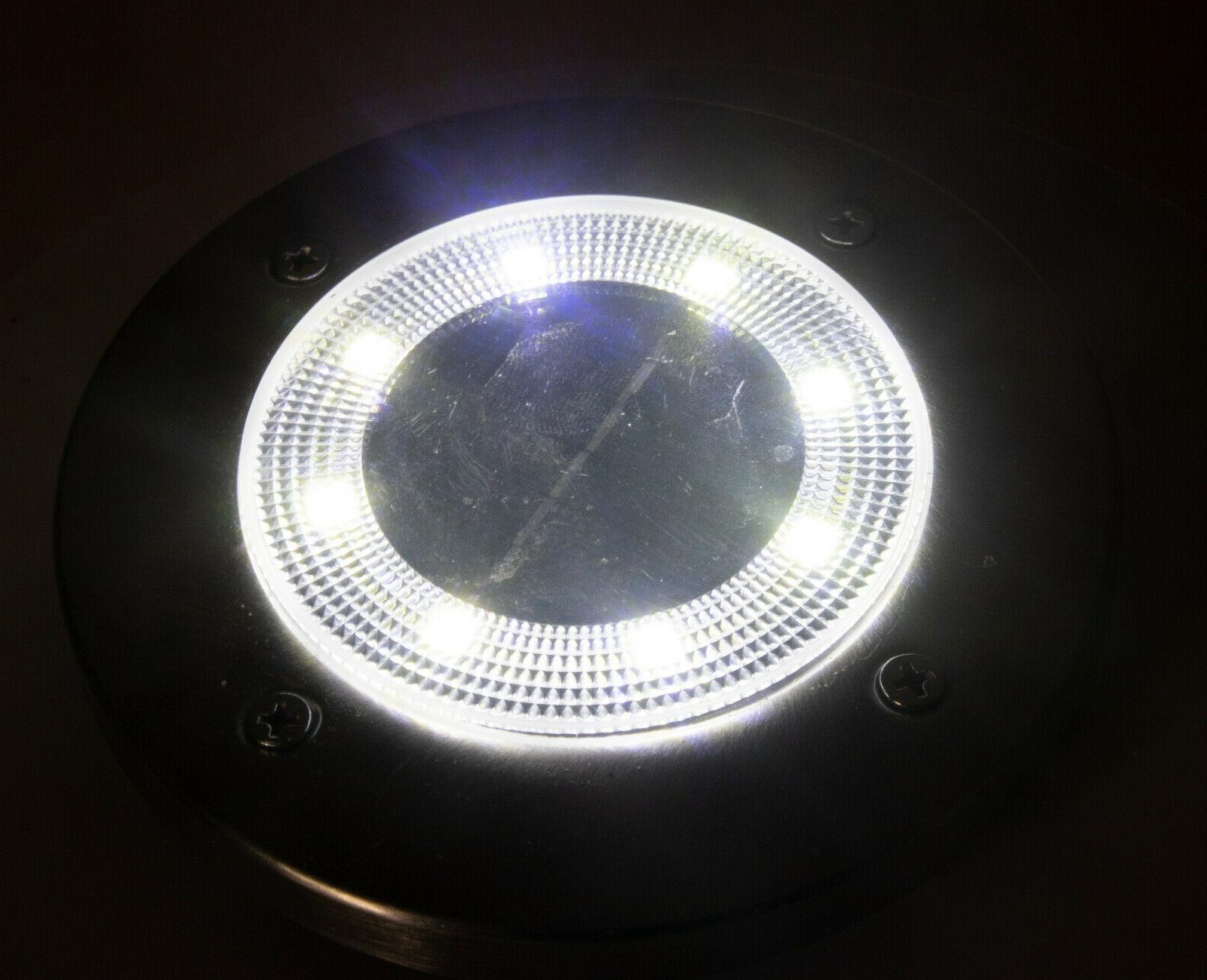 4 Solar Powered 8 LED Disc Path Lights Waterproof