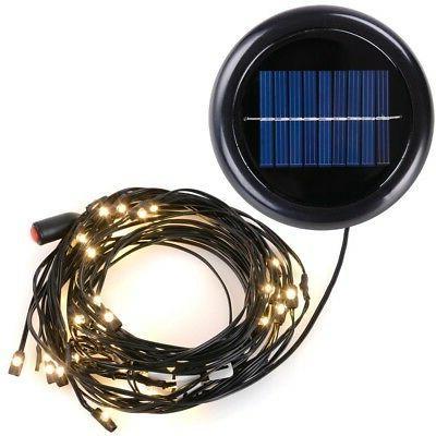 40 LED Warm White Solar Light 9ft 8 rib Outdoor Patio Offset