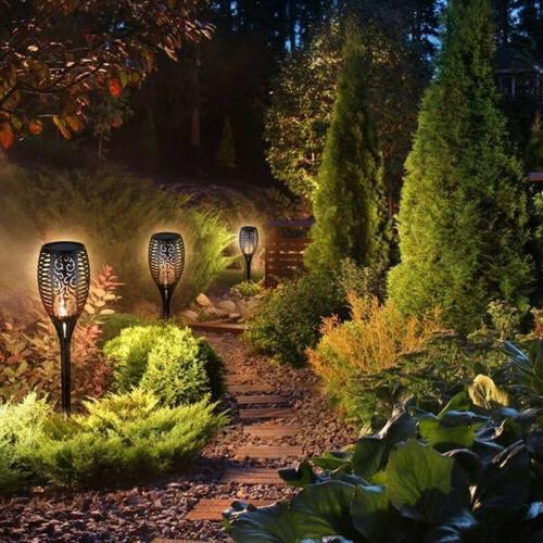 4Pack Auto LED Waterproof Solar Dancing Flame Lamp