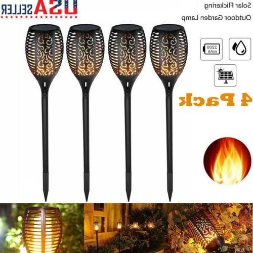4pack auto led waterproof solar tiki torch