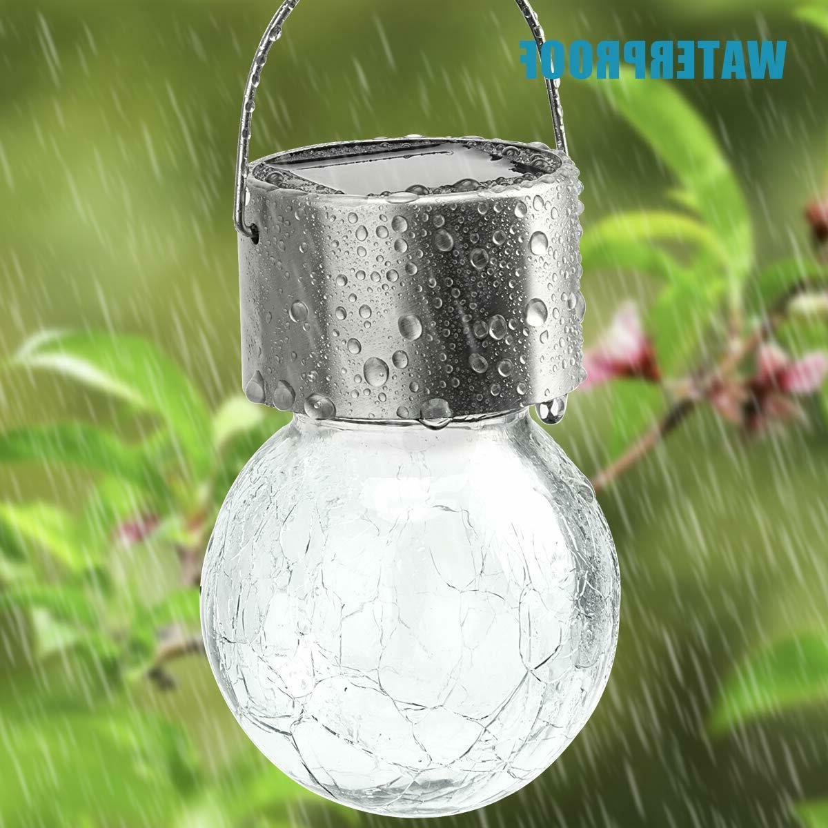 4Pcs White LED Crackle Lanterns