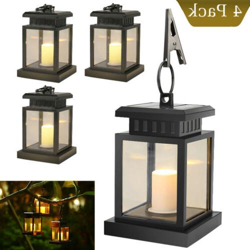 4pcs waterproof solar lantern hanging light led