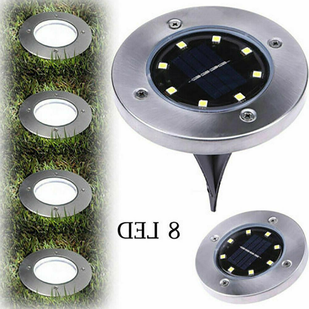 4x 8led solar disk lights ground buried