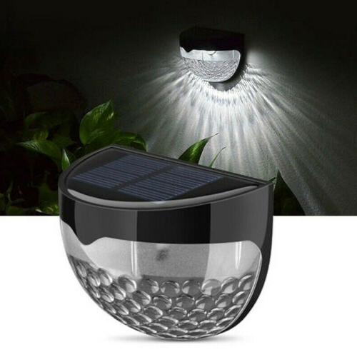 4x Solar Powered Fence 6-LED Lights Outdoor Garden Waterproof Wall #