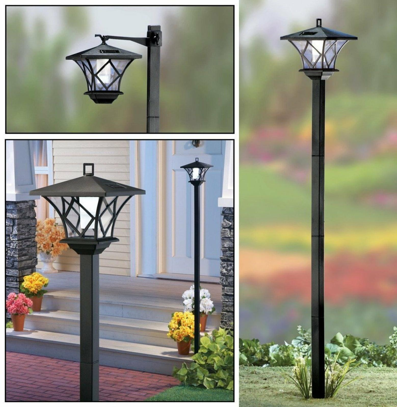 5 Ft Tall Solar Lamp Post Lights Outdoor Front Yard 2 in 1 G
