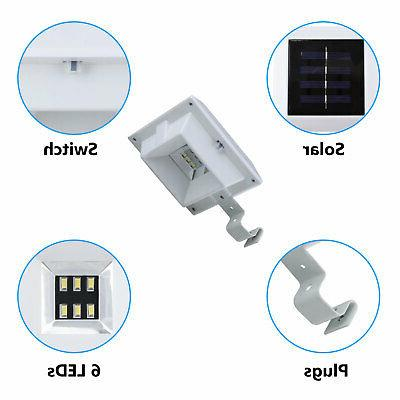 6 Solar Gutter Fence Garden Waterproof Lamp US