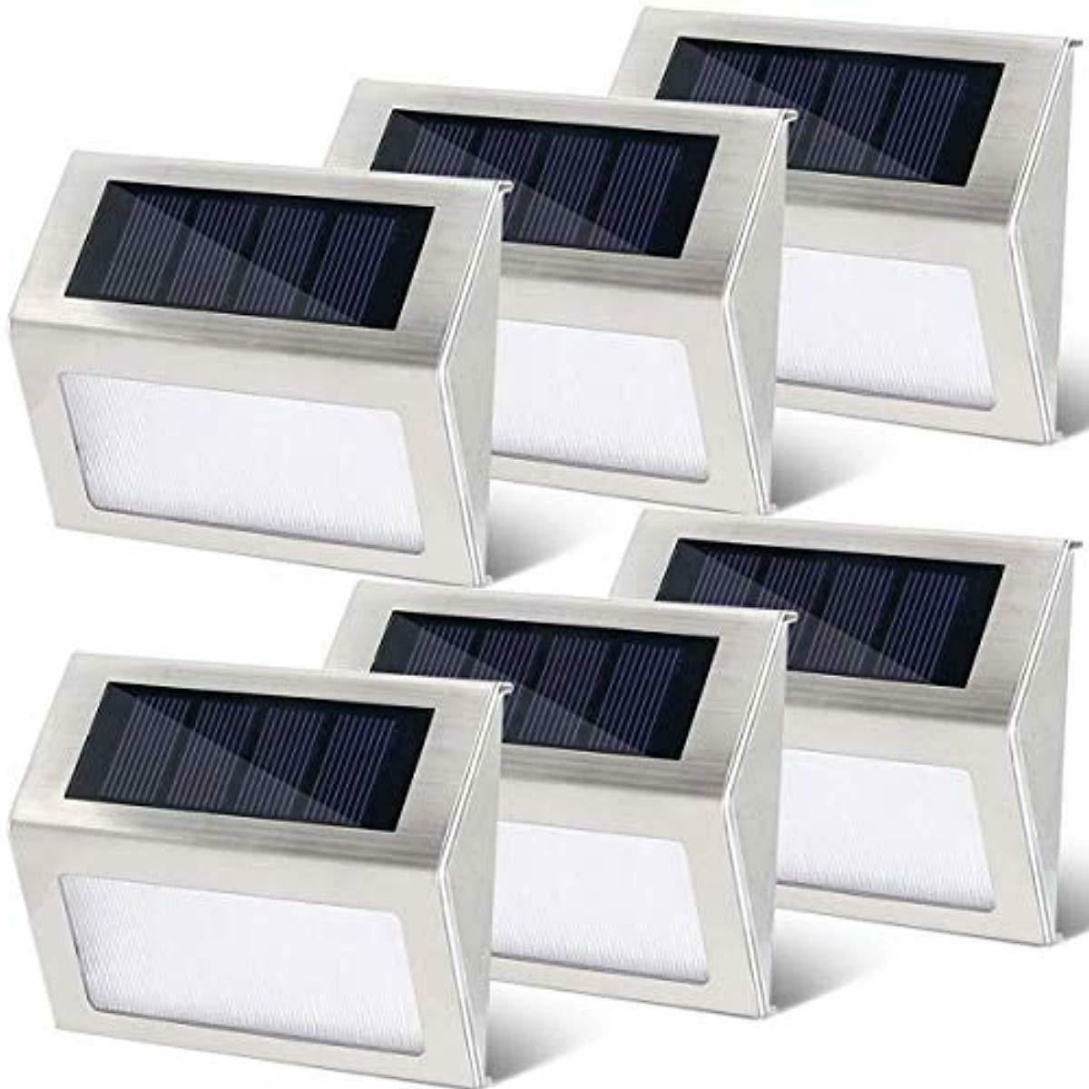 6 pack solar step deck lights stainless