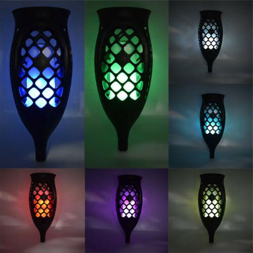 2pcs Solar Tiki Torch Flickering Flame Bulbs Lamps