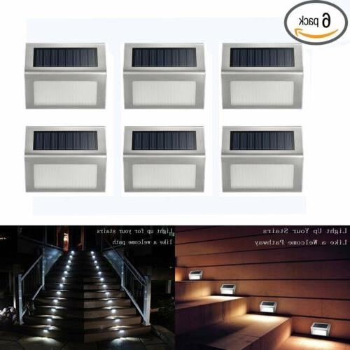 6Pack LED Step Lights Lamp Solar Powered Stainless Steel Out