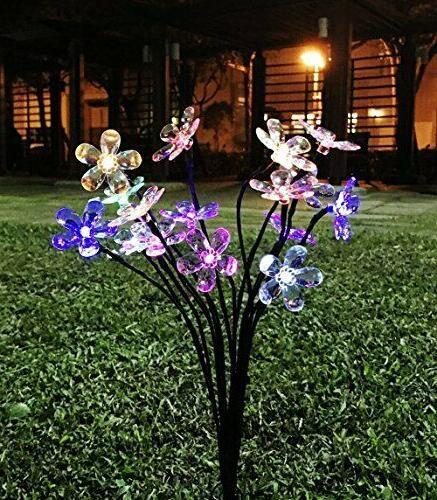 8 blossom flowers solar garden stake led