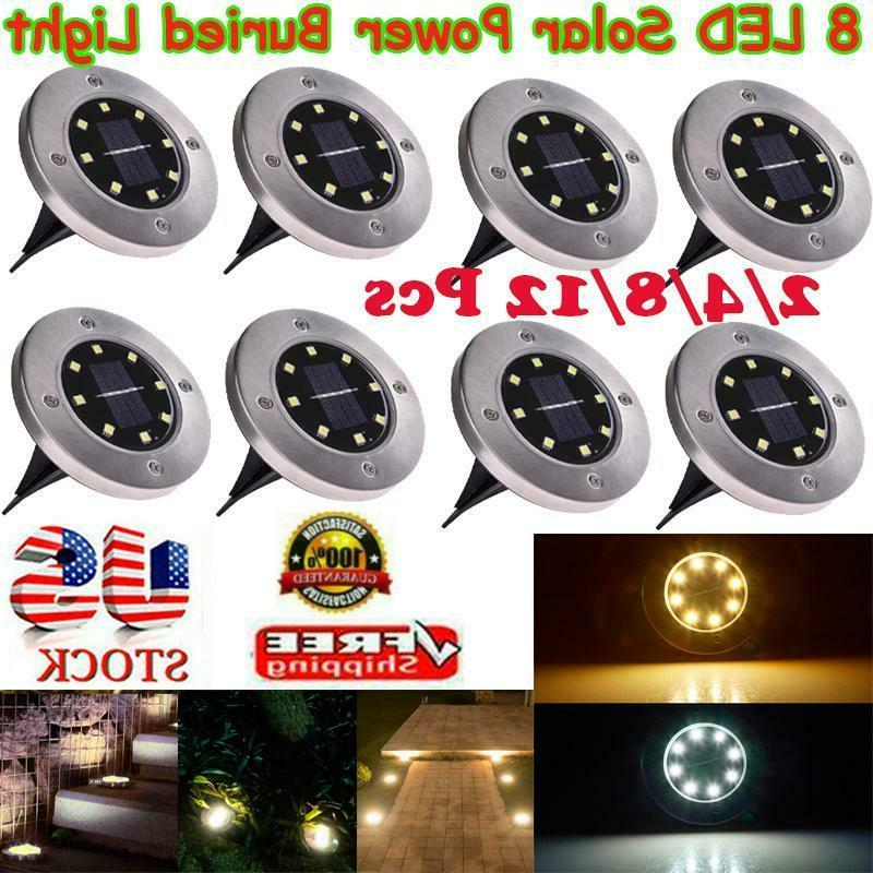 8 LED Solar Power Buried Light Under Ground Disk Light Path