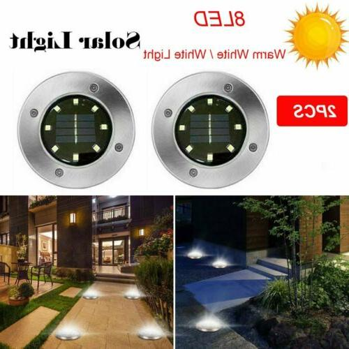 8 LED Solar Power Light Buried Floor Under Ground Lamp Outdo