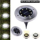 8 LED Solar Powered Flat Buried Light In-Ground Lamp Outdoor