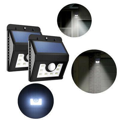 8 LED Solar PIR Outside Security Flood Wall