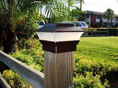 8 Outdoor Solar Copper Cap Square Fence Light Plastic