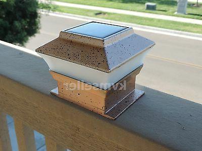 8 Outdoor 4X4 Garden Solar Post Deck Cap Square Plastic LED