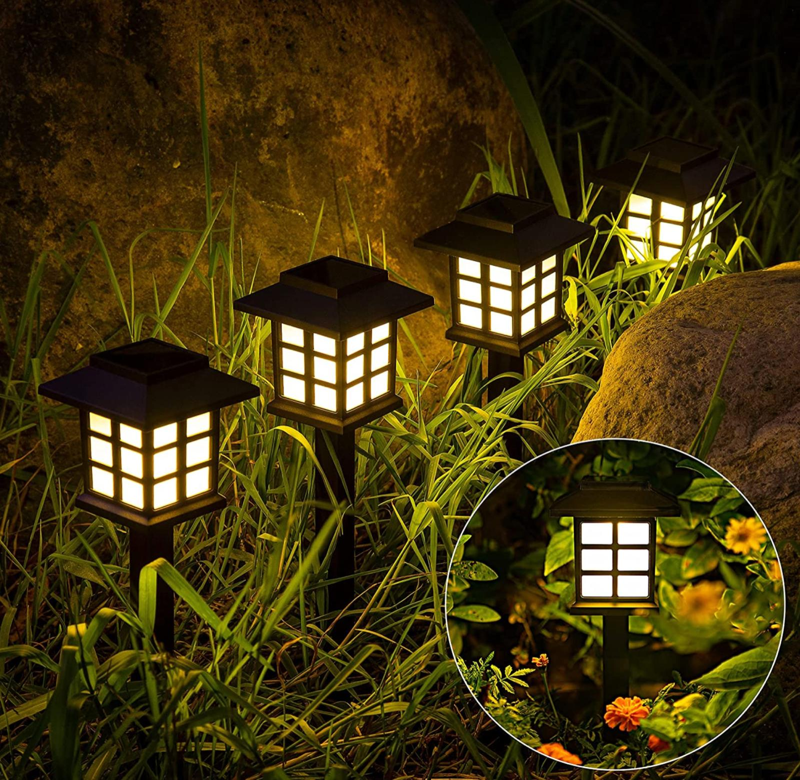 8 pack led solar pathway lights outdoor