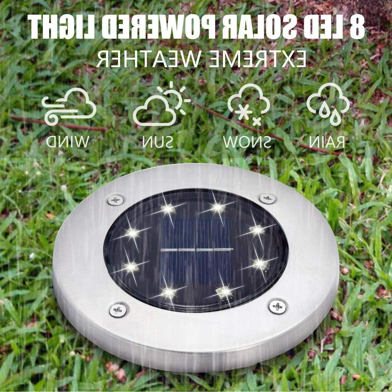 8 Solar Ground Lights Disk ground