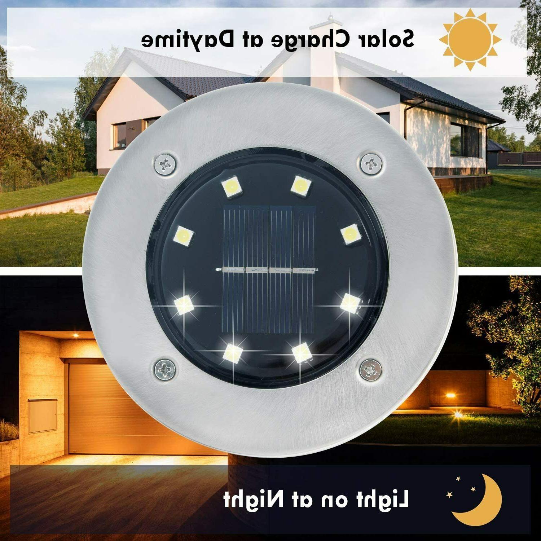 8 Pack Solar Lights 8 Disk Lights ground Outdoor