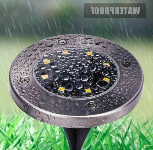 GIGALUMI 8 Pack Solar Ground Solar Powered Disk Lights Outdoor Wat