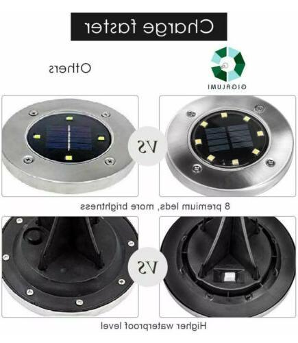 GIGALUMI 8 Ground Lights, Solar Powered Disk Outdoor Wat