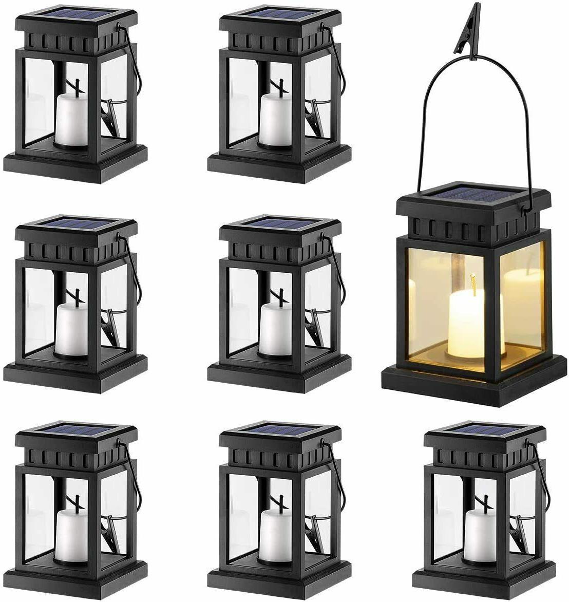 8 Pack Solar Hanging Lantern Outdoor Candle Effect Light War