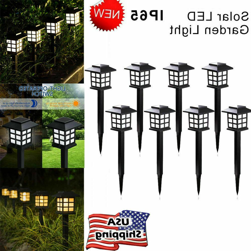 8 pack solar pathway lights led outdoor