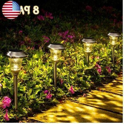 8 pack solar pathway lights solar garden