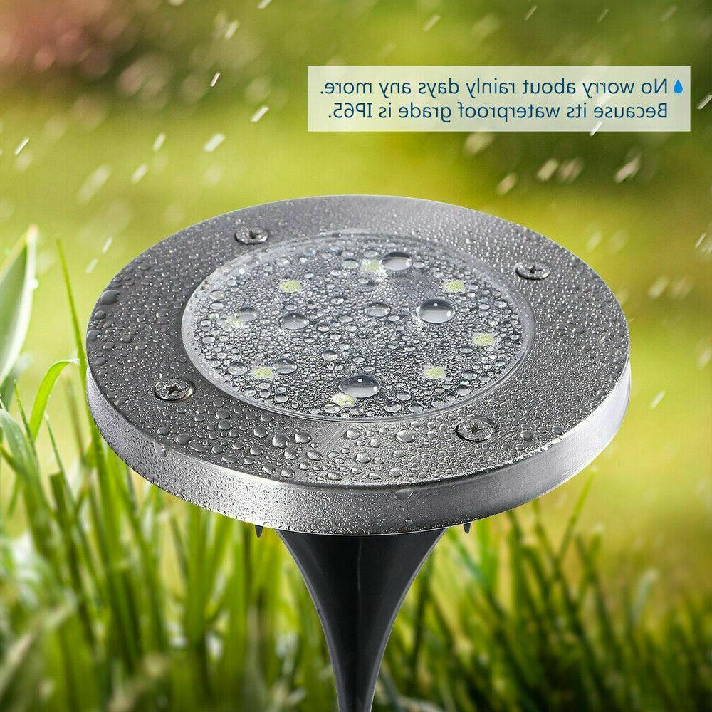 8 12LED Solar Power Buried Under Ground Outdoor Lamp White