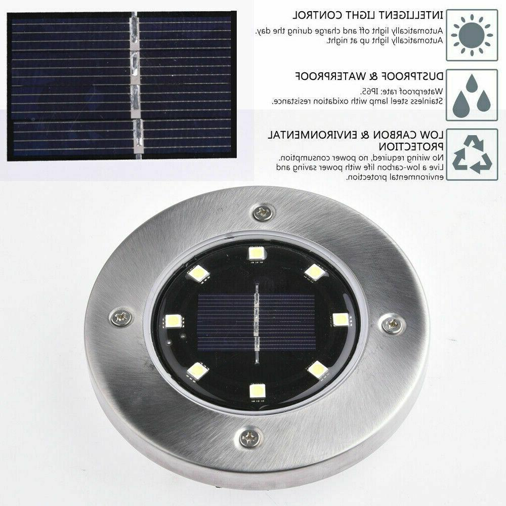 8 Solar Power Ground Lamp White
